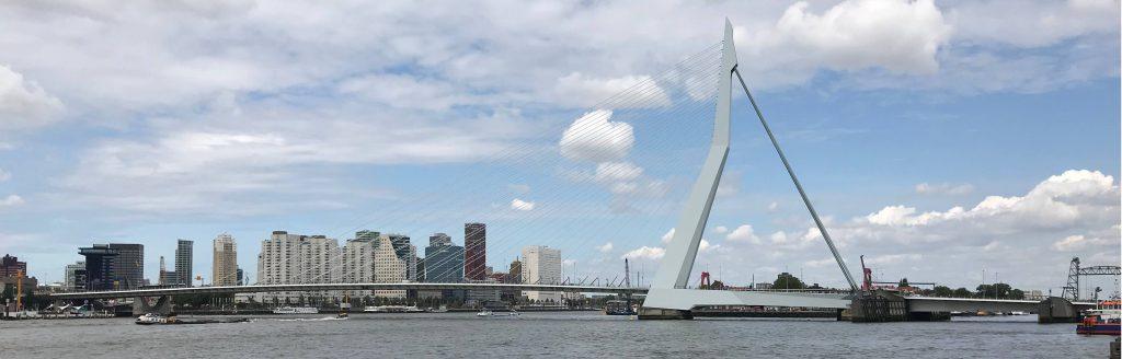 Erasmusbrug Rotterdam uitzicht naar het centrum