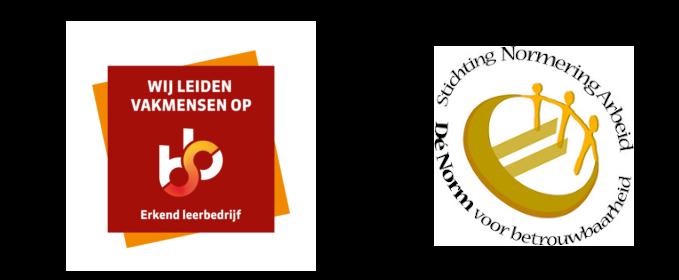 logo erkend leerbedrijf en stichting Normering Arbeid